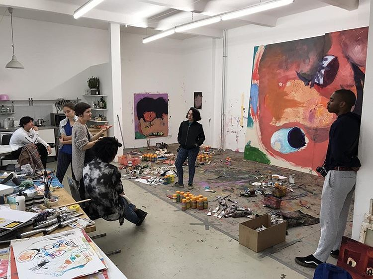 During their field trip to Berlin with Visiting Critic Luca Padroni and artist Vanessa Alessi, the B.F.A. students in the Cornell in Rome program visited the studio of Bethanien fellow painter Aneta Kajzer. photo / Luca Padroni