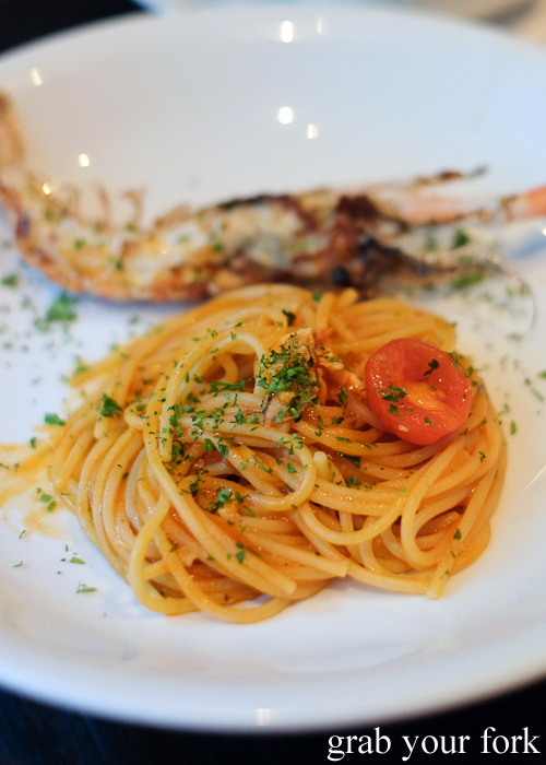 Scampi spaghetti at Fratelli Paradiso in Potts Point