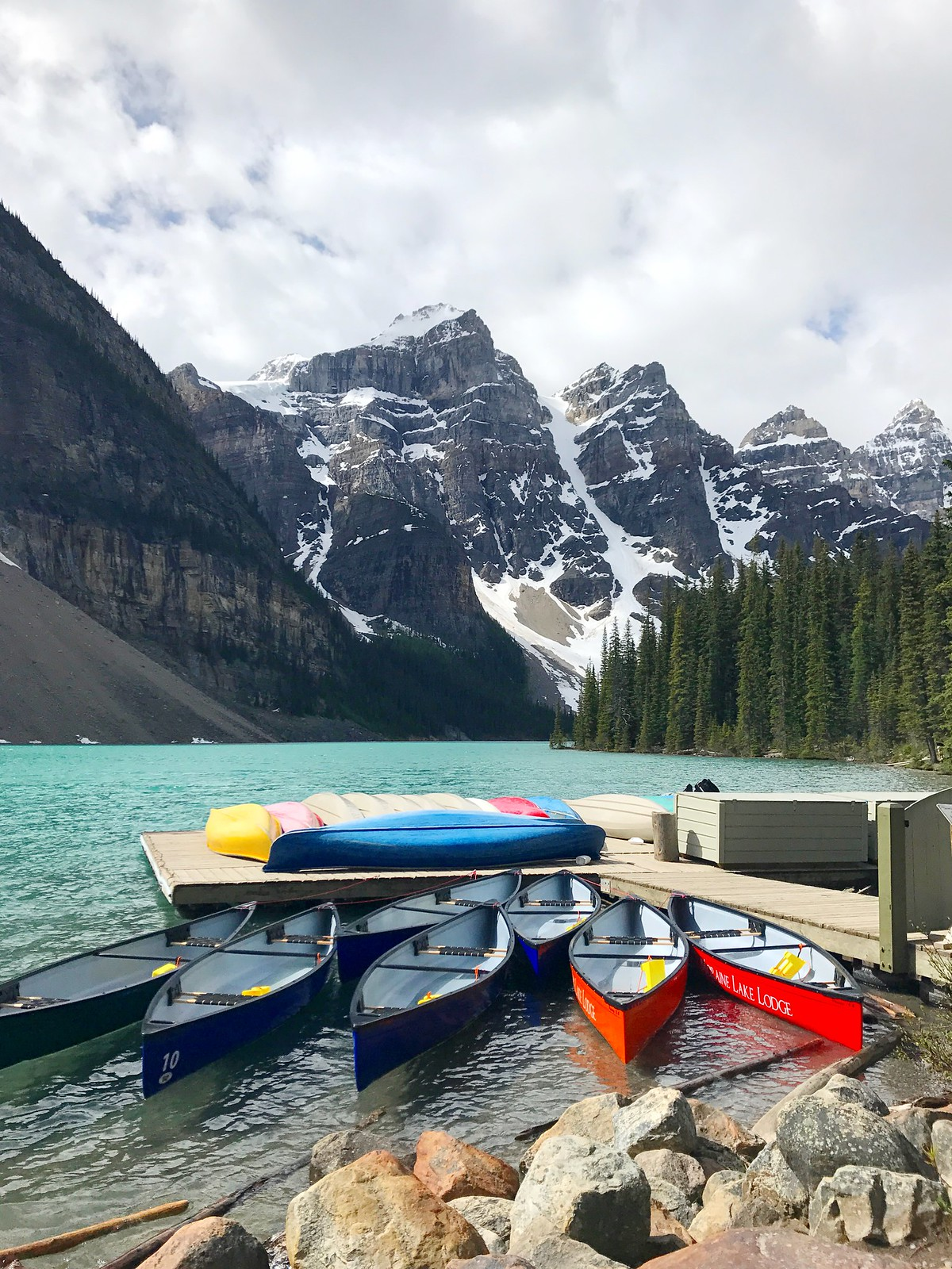 Canoes at Moraine Lake, Alberta