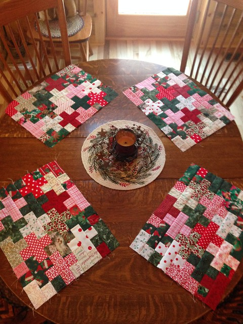 Plus block placemat tops