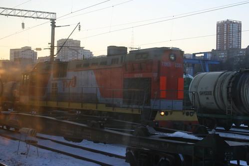 Russian Railways ТЭМ7А series in Vladivostok.Sta, Vladivostok, Primorsky Krai, Russia /Jan 3, 2018