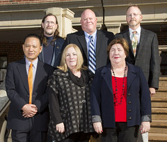 Wed, 2017-12-06 14:35 - Winners of the 2017 Regents Distinguished Research Award were: Front row, left to right: Kelvin Wang, civil engineering; Jennifer Hays-Grudo, human development and family science; Flera Rizatdinova, physics. Second row, left to right: Robert Matts, biochemistry and molecular biology; Doug Smith, exercise physiology; Mark Sisson, art.
