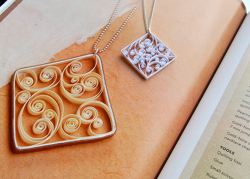 Quilled Paper Pendant - Swirled Scrolls by Кasia Wojtasik