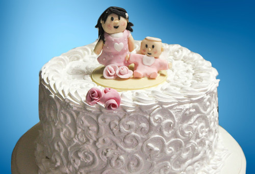 Torta tradicional con Fondant - Mädchen mit Puppe