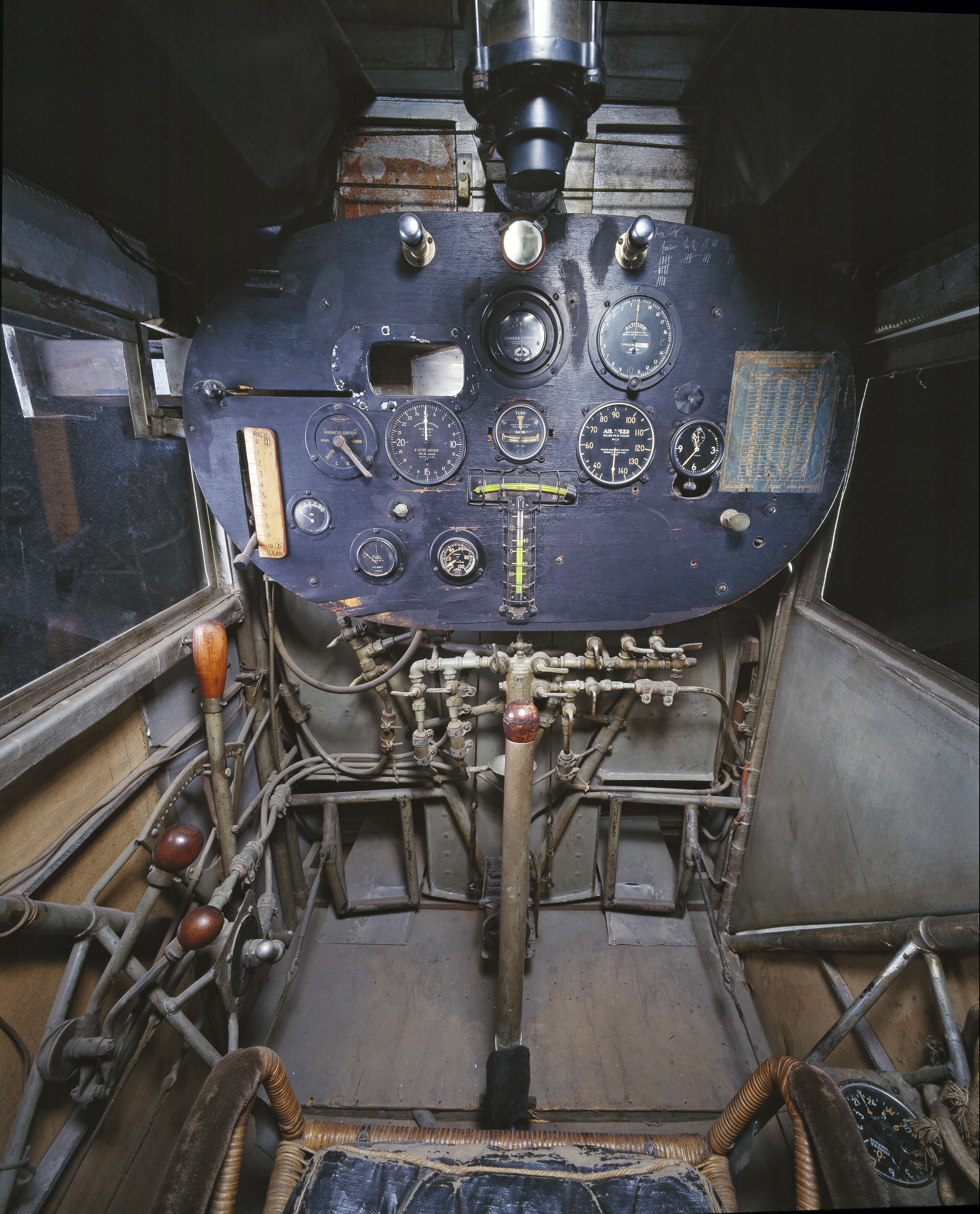 The cockpit of the Spirit of St. Louis