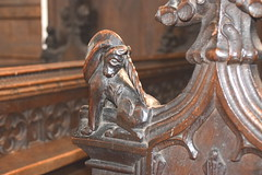 bench end: unicorn scratching its behind (Henry Ringham, C1860)