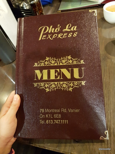 Pho La Express menu cover
