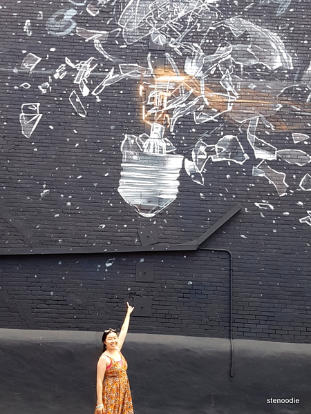 lightbulb mural