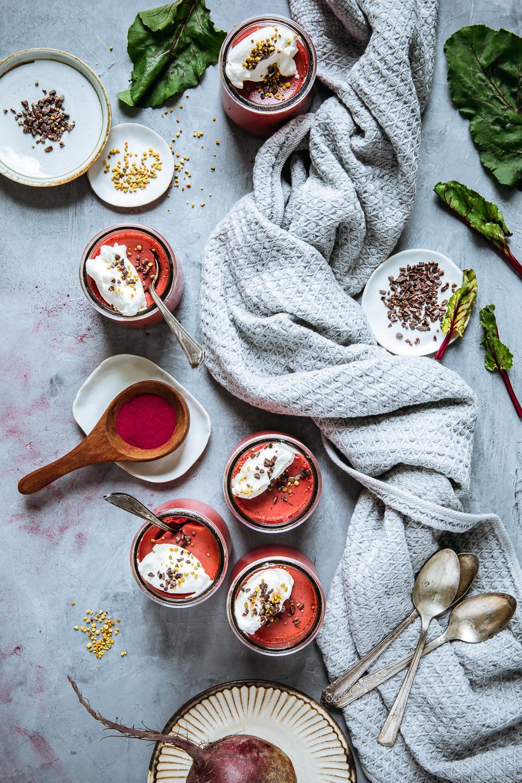 Beet Pots de Crème with Crème Fraîche Cream