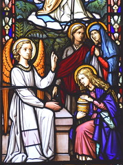 Three Marys and an angel at the empty tomb (O'Connors, 1854)