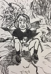 From a photo of 3yo me in Capital Reef National Park, Utah #drawing #sketch #sketchbook #penandink #childportrait #capitalreef #nationalpark #utah #hiking #illustration #art