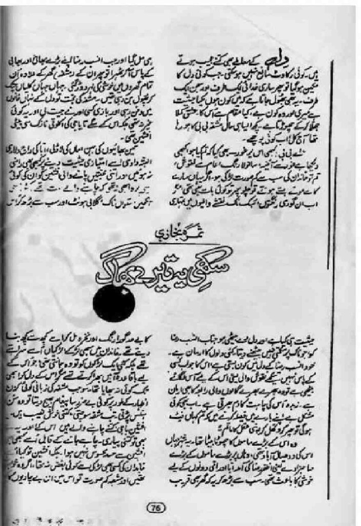 Sakhi Tere Baagh is a very well written complex script novel by Samra Bukhari which depicts normal emotions and behaviour of human like love hate greed power and fear , Samra Bukhari is a very famous and popular specialy among female readers