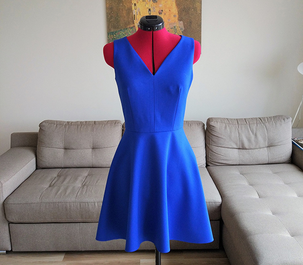 blue half-circle party dress