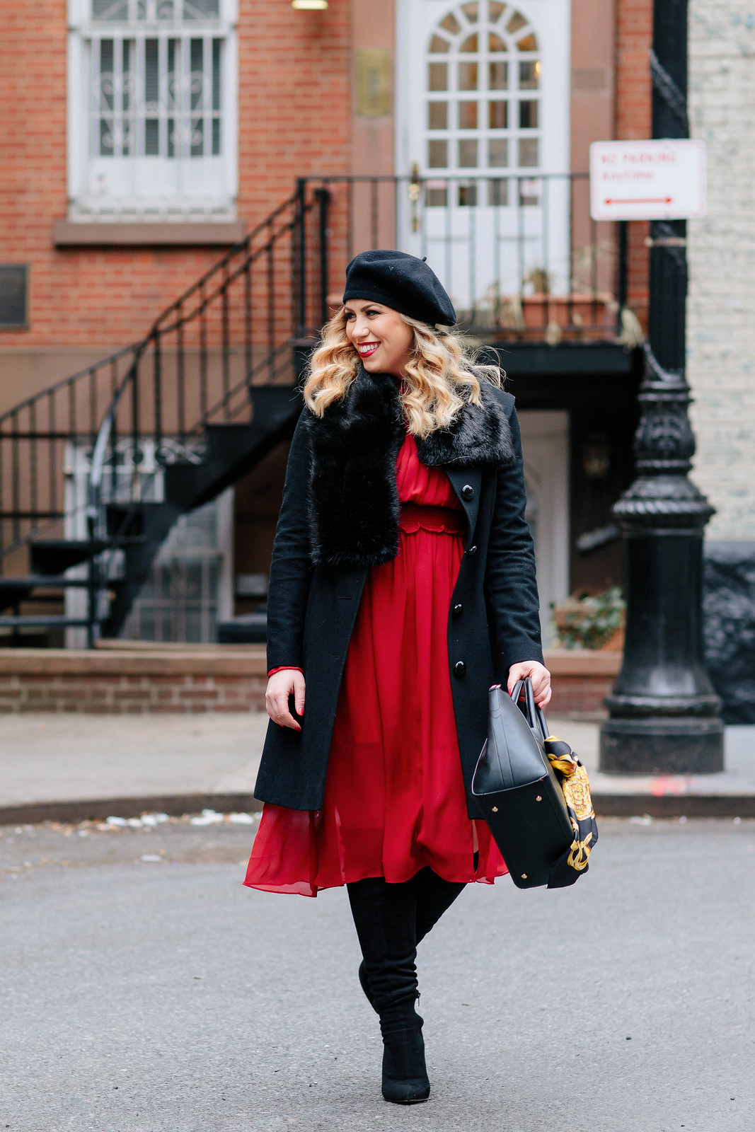 Lady in Red. Black Faux Fur Coat Red Midi Chiffon Dress Black Boots NYC Fashion
