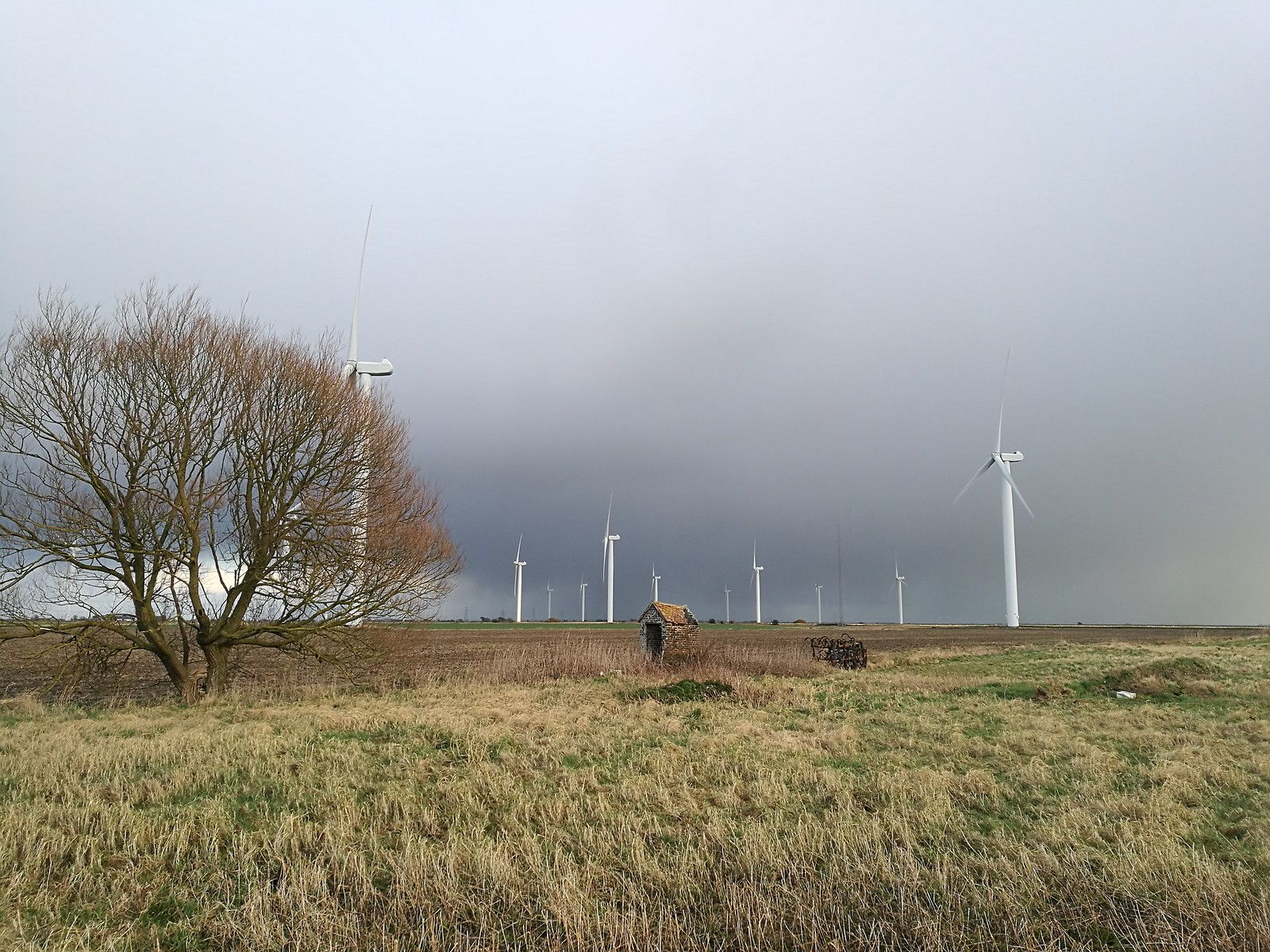 Mysterious building plus wind farm SWC 154 - Rye to Dungeness and Lydd-on-Sea or Lydd or Circular (Wind Farm Extension of Rye Ending) [taken by Emma P]