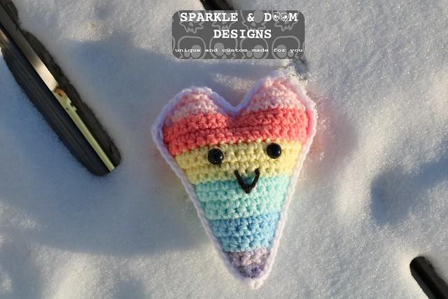 GSA Heart Keychain pastel rainbow b