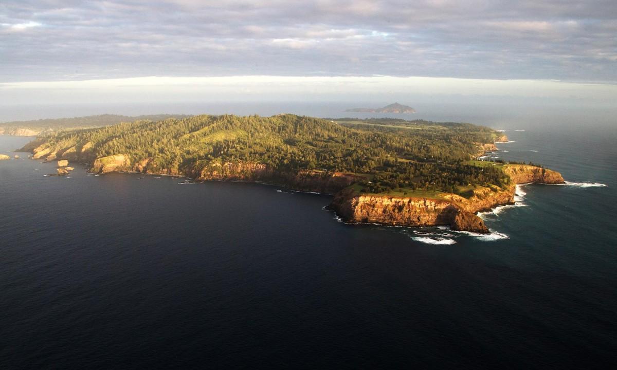 Aerial view of Norfolk Island.
