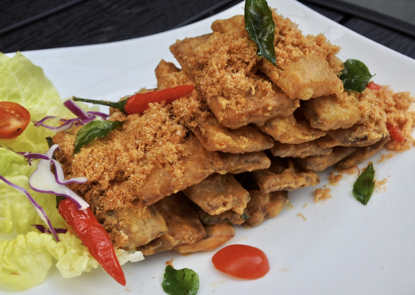 Crispy Fried Aubergine with Salted Egg and Pork Floss