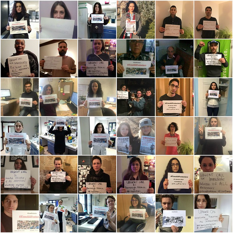 #FreeAllProtesters Social Media Campaign demands the International community & Humanitarian Organizations to put pressure on #Iran to immediately release all the detainees