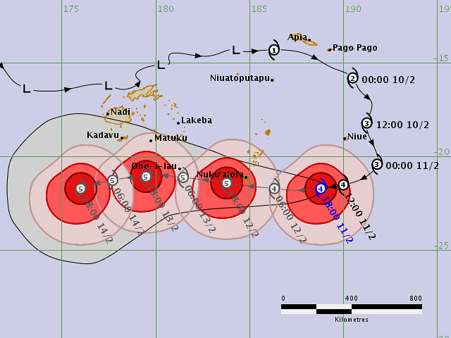 Tracking map  for Cyclone Gita fromthe Fiji Metrological office as it passed by Fiji