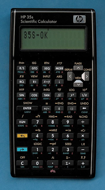 HP 35s calculator, displaying end of keyboard test