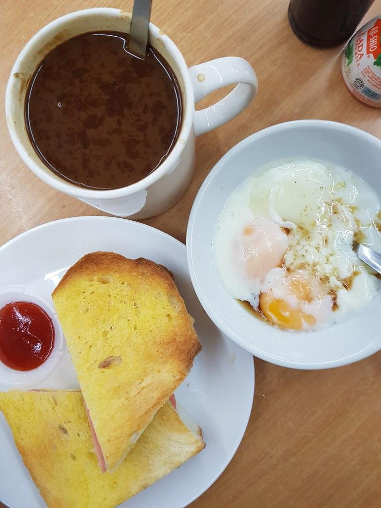 HamEgg Sandwich $4 + HalfBoiled Egg $2.50  + Hailam Tea $2.50 @ Thong Kee Kopitiam 溏记海南茶室 Shah Alan Glenmarie