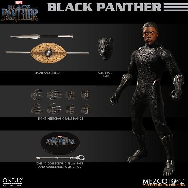 附屬瓦干達特殊的矛與盾!! MEZCO ONE:12 COLLECTIVE 系列《黑豹》黑豹 Black Panther 1/12 比例人偶作品
