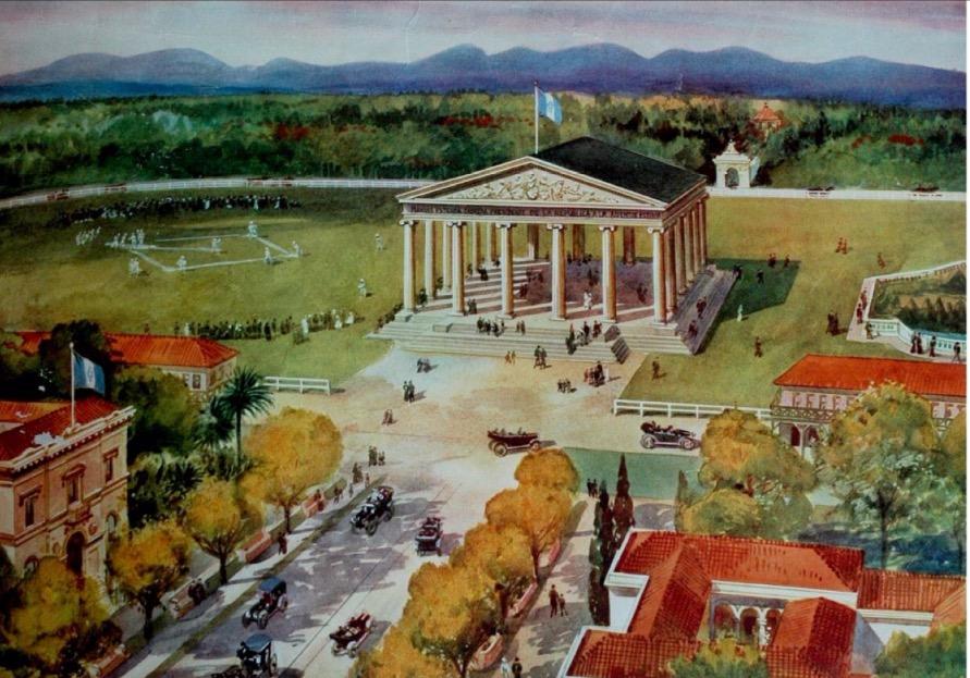 Templo de Minerva y parque de Beisbol a principios del siglo XX 1915