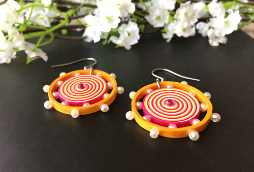 Quilled Pink and Yellow Earrings