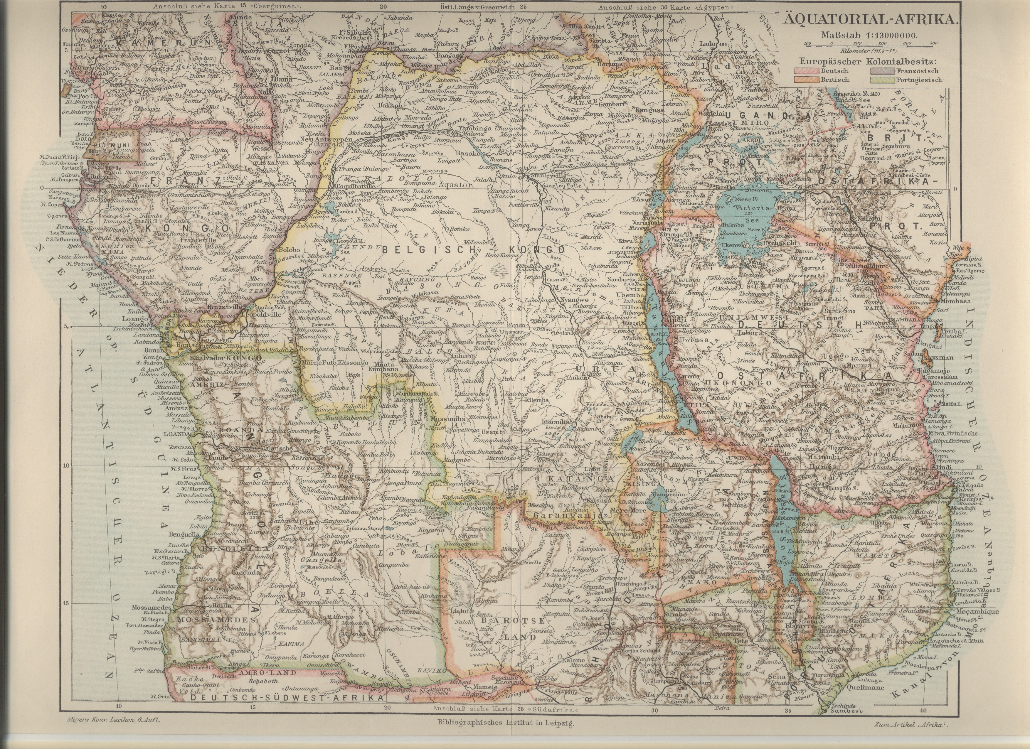 Map of Belgian Congo published in 1912.