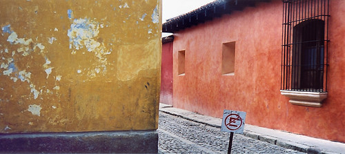 Weathered gold walls in Antigua, Guatemala