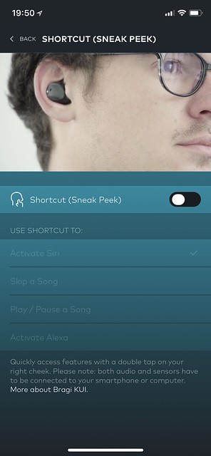 Bragi iOS App - Controls - Shortcut