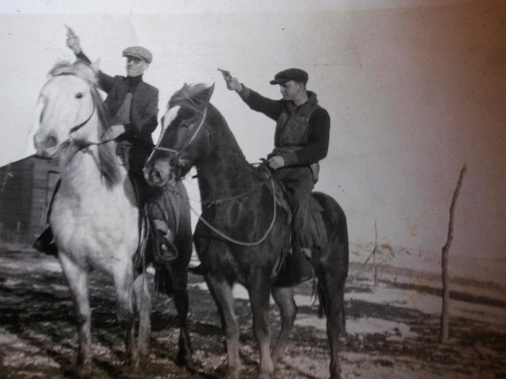 Casbon Vernon L on R horseback N Dakota date unknown