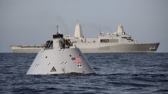 A mock-up of NASA's Orion crew module floats in the vicinity USS Anchorage (LPD 23), Jan. 21. (U.S. Navy/MC1 Abe McNatt)