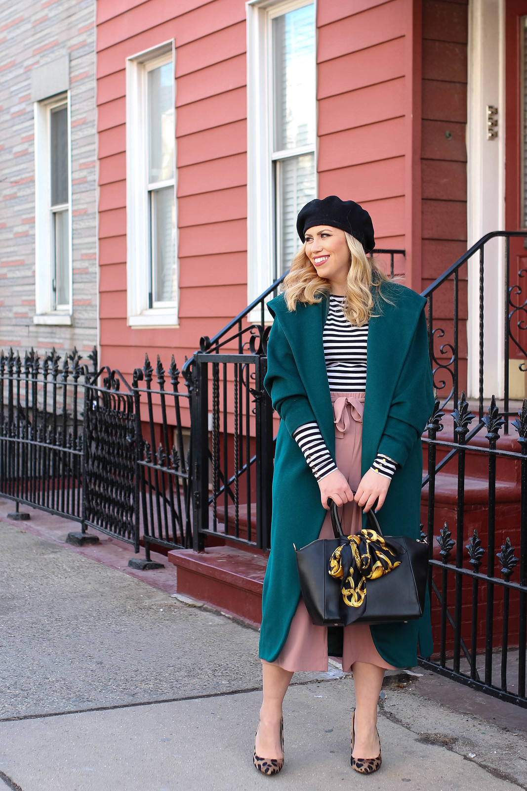 Winter 2018 Fashion Trends Black Beret Vintage Emerald Coat Striped Shirt Pink Culottes Outfit Inspiration