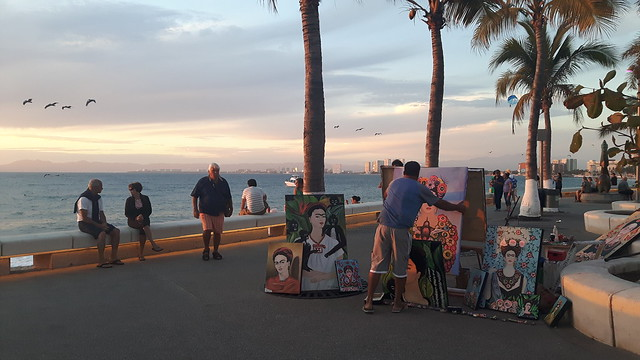 Frida Kahlo paintings for sale along Puerto Vallarta malecon