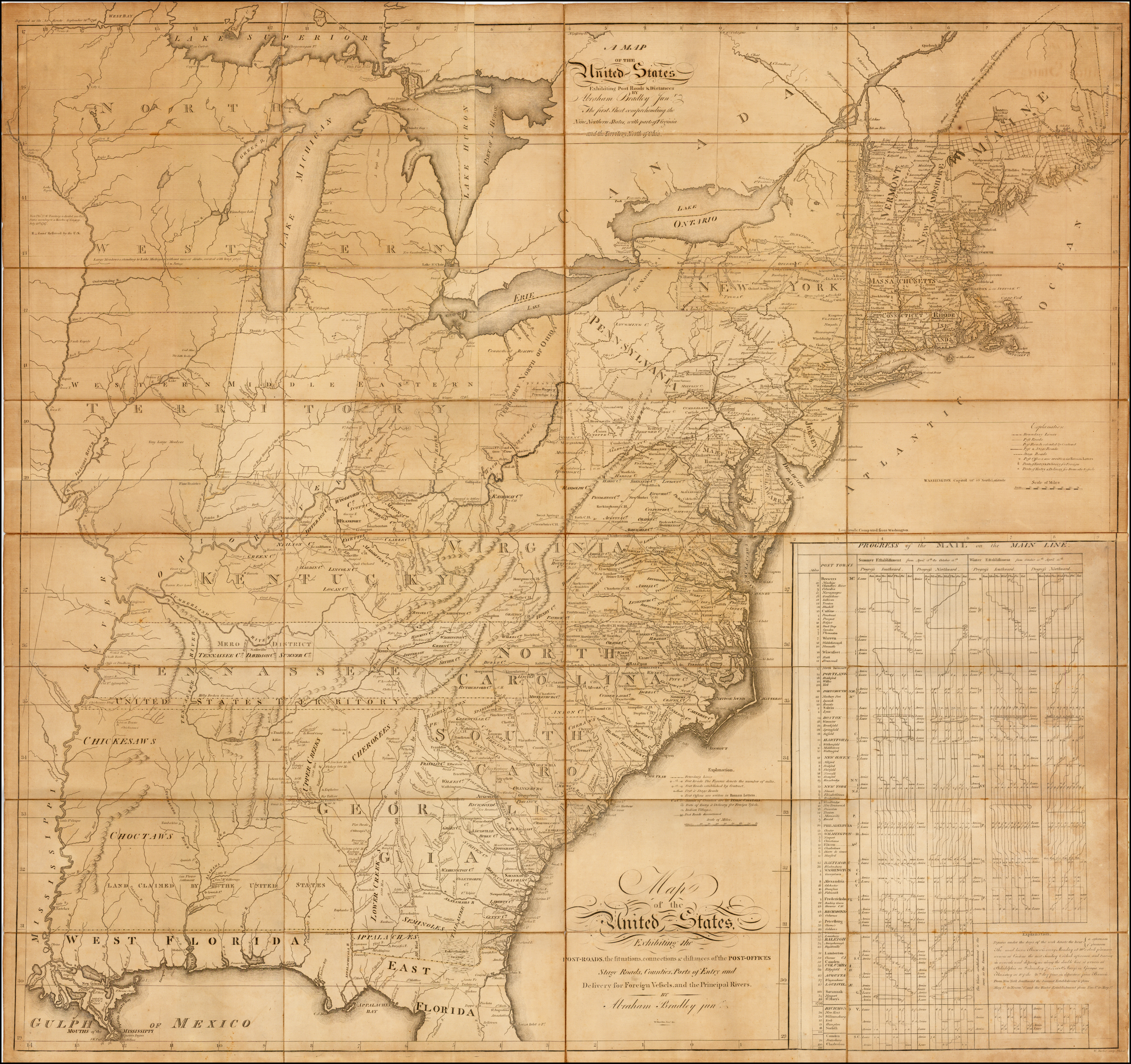 Abraham Bradley's postal map of the United States -- one of the most important 18th century maps of the United States, and a landmark in both the history of cartography and American Postal history. Bradley's map is one of only four large format maps of the United States to have been published in America prior to 1800. The map provides an exceptionally detailed look at the post offices and postal routes of America, as they existed at the end of the 18th Century, locating every post office then in operation. The map also includes the first known printing of the first American postal delivery time and route schedule.