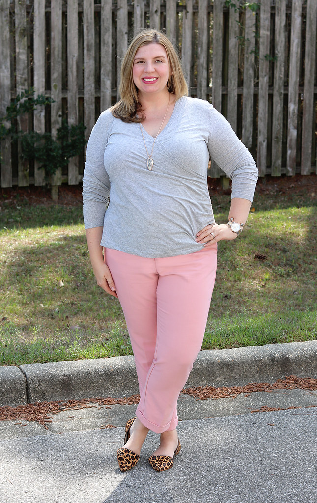 pink dress pants, gray wrap shirt, leopard flats 3