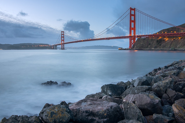 Golden Gate Calm Blue Hour