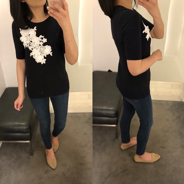 Ann Taylor Floral Applique Sweater Tee, size S regular