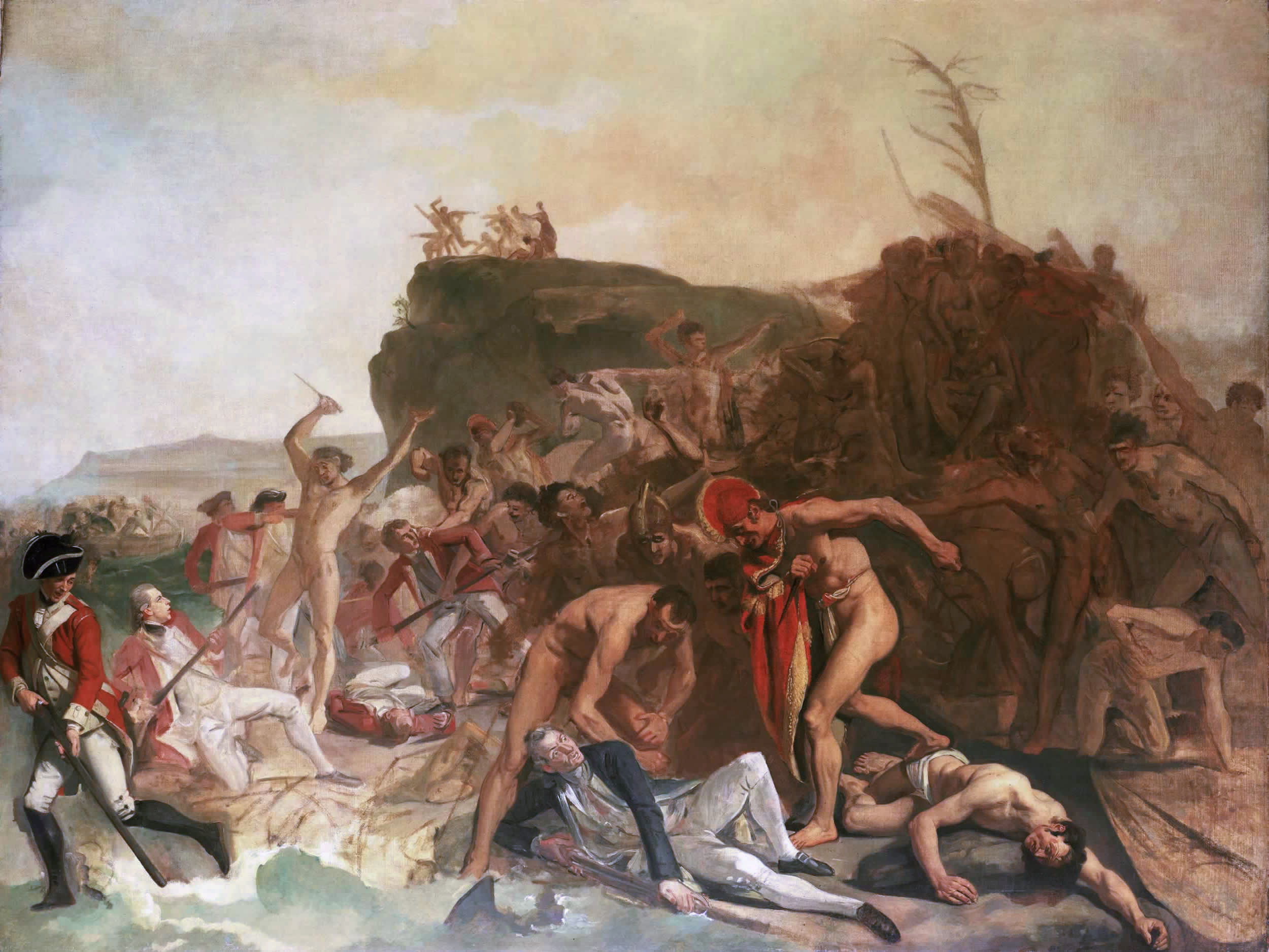 'The Death of Captain James Cook, 14 February 1779', an unfinished painting by Johan Zoffany, circa 1795.