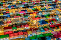 Aerial view of  night market in Bangkok city , Thailand. And colourful tents