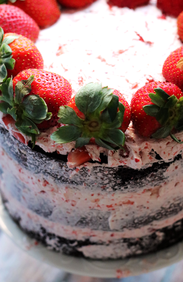 Dark Chocolate Covered Strawberry Layer Cake