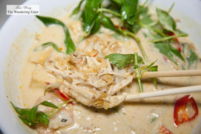 Coconut Curry Laksa, Shrimp, Crab, Rice Noodles, Thai Basil, Poached Chicken