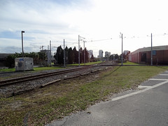 Tampa Bay Historical YBOR City (Hillsborough Area Regional Transit Authority) HART TECO Line Trolley Line Crossing Amtrak Tracks