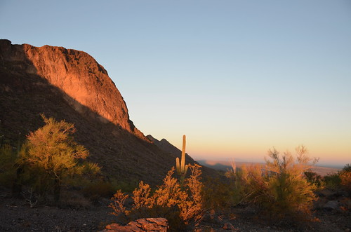 Picacho Peak cliff at sunrise