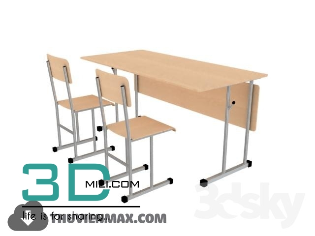02  Table + Chair CHILDROOM 3dsmax Free Download - 3D Mili