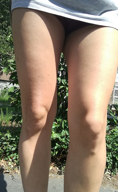 Shortest shorts -Smooth legs (thighs and knees)