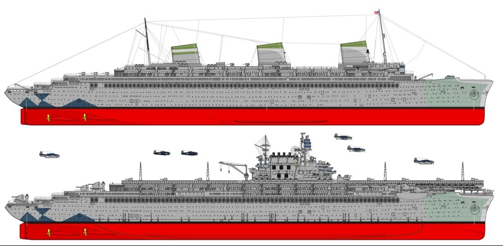 SS Normandie's possible appearances had her conversion into a troopship or aircraft carrier been completed.