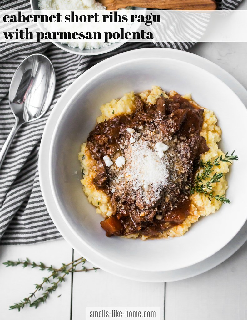 Cabernet Short Ribs Ragu with Parmesan Polenta